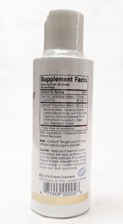 CellFood Weight Loss Formula nutrition view