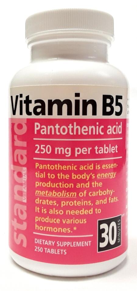 STANDARD VITAMINS Vitamin B5 Pantothenic Acid 250 mg, 250 ...