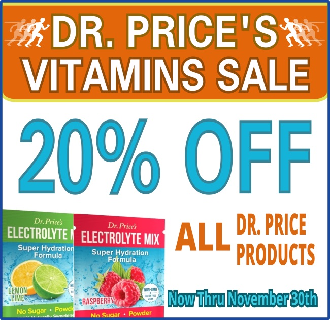 november dr. price vitamins sale 20 percent off from now until november 30th