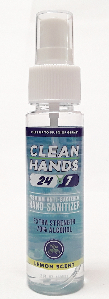 Clean Hands 24/7 Spray Hand Sanitizer 2oz Lemon Scent main product image view
