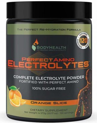 BodyHealth Perfect Amino Electrolytes Powder, 100 servings, Orange Slice Flavor, 22oz (1)