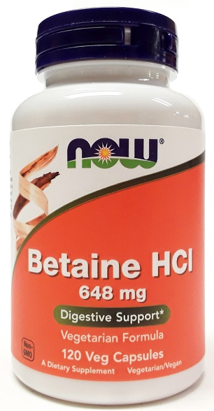 NOW Betaine HCL 648mg 120 Capsules main