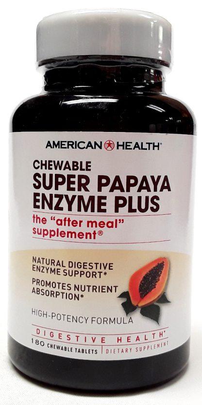 American Health Chewable Super Papaya Enzyme Plus 180 Tablets (1)