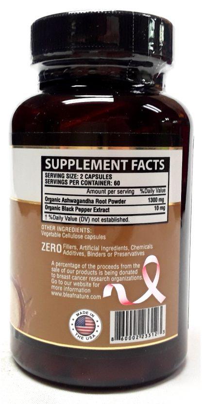B'Leaf Nature Ashwagard Ashwagandha Root 120 Capsules nutrition facts view