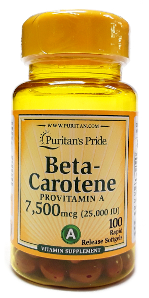 Puritan's Pride Beta Carotene 25,000IU 100 Softgels main