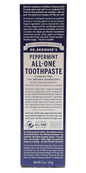 Dr. Bronner's All-One Peppermint Toothpaste 5oz main