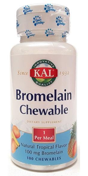 KAL Bromelain 100mg 100 Chewable Tablets main view