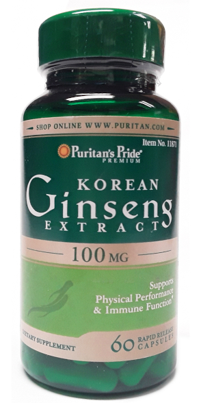 Puritan's Pride Korean Ginseng Extract 100mg 60 Capsules main product image view